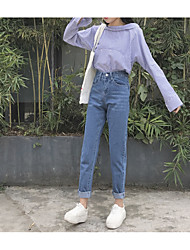 Sign Korean loose bf wind flash light-colored trousers straight jeans female significant lanky waist trousers