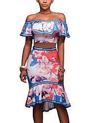 Damen Blumen Vintage Boho Ausgehen Lässig/Alltäglich T-Shirt-Ärmel Rock Anzüge,Boot-Ausschnitt Sommer Kurze Ärmel Rüsche Polyester