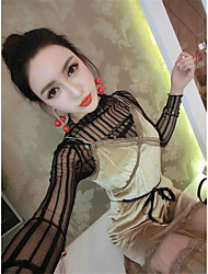 Sign new sexy perspective gauze bottoming shirt + Sling gold velvet dress suit