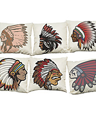 Set of 6 Indian style pattern   Linen Pillow Case Bedroom Euro Pillow Covers 18x18 inches Cushion cover