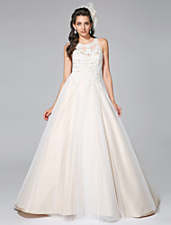 Lanting Bride® A-line Wedding Dress Wedding Dress in Color Court Train Jewel Satin Tulle with Appliques Beading
