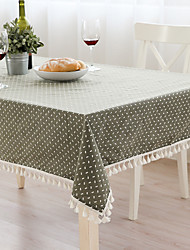 Square Patterned Toile Table Cloth , Linen / Cotton Blend Material Table Decoration 1/set