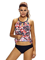 Women's Reddish Leaf Print Cutout High Neck Swim Top