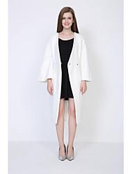 Manteau Femme,Couleur Pleine Sortie Vintage Manche Longues Mao Repasser à l'envers Coton Long Printemps
