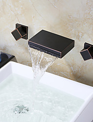 Oil Rubbed Bronze Black Wall Mounted Bathroom Faucet Waterfall Faucet Bathroom Waterfall Taps