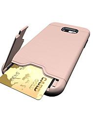Для Бумажник для карт со стендом Кейс для Задняя крышка Кейс для Один цвет Твердый PC для Samsung A3 (2017) A5 (2017) A7 (2017)