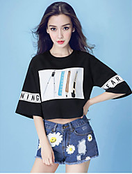 Angelababy star with money 2016 summer hole printing Korean fashion + denim shorts