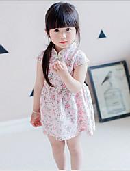 vestido de flores sólida, caída de verano de algodón con mangas de 3/4 de niña