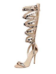 Sandals Summer Gladiator Leatherette Office & Career Party & Evening Dress Casual Stiletto Heel Animal Print Zipper Beige