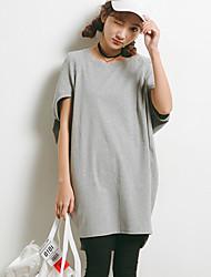 Feminino Camiseta Tamanhos Grandes SimplesSólido Branco Preto Cinza Algodão Poliéster Decote V Manga Curta