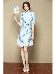 Feminino Evasê Vestido,Para Noite Festa/Coquetel Fofo Temática Asiática Floral Colarinho Chinês Acima do Joelho Meia Manga Azul Rosa