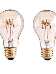 4W B22 E26/E27 Ampoules à Filament LED G60 1 COB 400 lm Blanc Chaud Gradable AC 100-240 AC 110-130 V 2 pièces