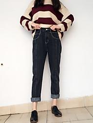 подписать простые дикие 2017 корейское торговые упругие талии джинсы женские прямые брюки сломанные особенности барабанные