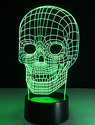 Illusion Tooth Football Skull Iron Man 3D LED Night Light Acrylic Colorful Kids Baby Bedroom USB Table Lamp Touch/Remote Switch