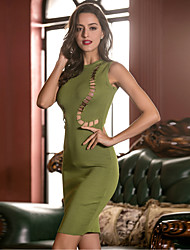 Women's Beach Party/Cocktail Club Sexy Bodycon Sheath Dress,Solid Round Neck Above Knee Sleeveless Others Brown Gray Green All SeasonsMid