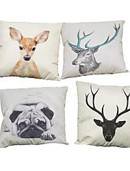Set of 4 Giraffe pattern Linen Pillowcase Sofa Home Decor Cushion Cover