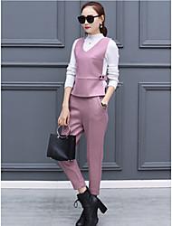 Mujer Clásico Oficina/Carrera Formal Cita Invierno Tank Top Pantalón Trajes,Escote en Pico Color sólido Sin MangasEstilo formal Estilo