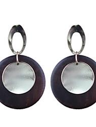 Fashion Simple Metal Wood Earrings