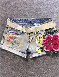 No. Europe station Slim new fashion trend personality denim shorts are not stretch