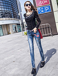 пружинные эластичные узкие джинсы женские брюки печатные стрейч карандаш брюки женские брюки ноги женские брюки новый
