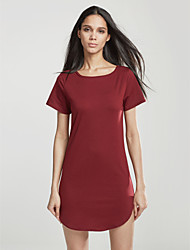 Women's Club Simple Plus Size / Sheath Dress,Solid Slim Round Neck Mini Short Sleeve More Colors Can Available