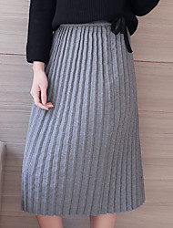Model real shot Korean commuter organ gray pleated elastic waist loose big yards long section Skirt