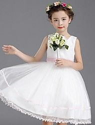 Vestido de baile com vestido de flor com joelho - Vestido de organza sem mangas com lantejoulas