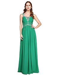 2017 TS Couture® Formal Evening Dress - Elegant Sheath / Column Straps Floor-length Chiffon with Beading Pleats