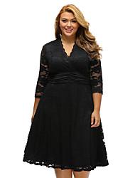 Women's Lace Plus Surplice Neck Ruched Waist Floral Lace Swing Dress