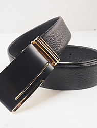 Men's leisure fashion black head layer cowhide litchi grain automatic belt grinding black gold agio with body is about 3.6 cm wide