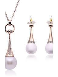 Jewelry Set Imitation Pearl Pearl Imitation Pearl Alloy White Wedding Daily 1set 1 Pair of Earrings Necklaces Wedding Gifts