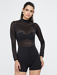 Women's Cut Out|Backless Solid Backless Slim Jumpsuits,Sexy / Simple Crew Neck Long Sleeve