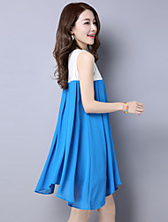 2017 spring and summer national wind hit color embroidered ladies round neck sleeveless chiffon dress