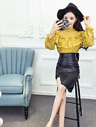 signe nett 2016 nouvelle blouse en dentelle coréenne + fendue tailleur jupe en cuir PU