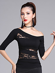 Latin Dance Tops Women's Training Lace Modal Lace 1 Piece Half Sleeve Natural Top