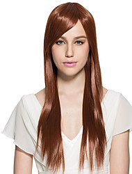 Yaki Straight Wig Capless Synthetic Fiber Wig Long Side Part With Bangs