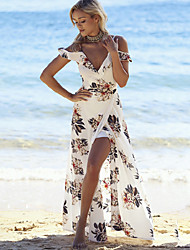 Beach Sexy Loose DressPrint Split Deep V Maxi Sleeveless Polyester White Summer Mid Rise Micro-elastic Print Randomly