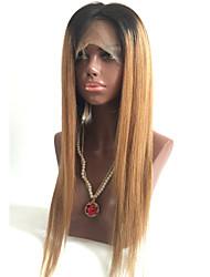 neue brasilianische menschliche reine Haarperücken gerade T1b / 27 Menschenhaarperücke für schwarze Frau glueless volle Spitzeperücken mit