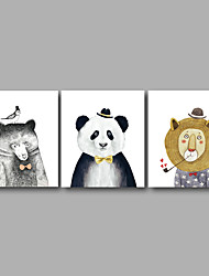 Stretched Canvas Print Three Panels Canvas Wall Decor Home Decoration Abstract Modern Cute Animals