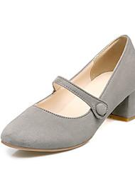 Damen-High Heels-Büro Kleid Lässig-PU-BlockabsatzSchwarz Grau Rosa
