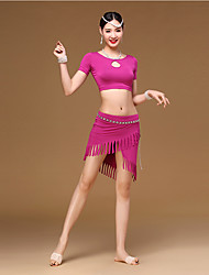 Belly Dance Outfits Women Girl Training Modal Tassel(s) 2 Pieces Short Sleeve Dropped Top Skirt