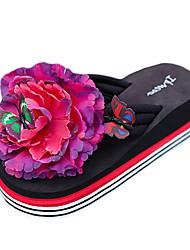 Women's Slippers & Flip-Flops Summer PU Outdoor Casual Flat Heel Flower White Black Yellow Red