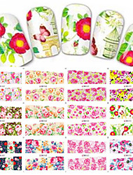 1pcs 12design Nail Art Sticker Beautiful Flower Image Full Cover Water Transfer Decals Manicure Beauty BN61-72