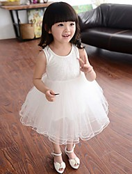 Girl's Cotton Fashion New Super Fairy Han Edition In The Lace Stitching Cotton Sleeve Princess A-line Skirt Lace Dress