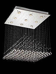 Square LED Crystal Chandeliers Ceiling Light Fixtures for Dinning Table