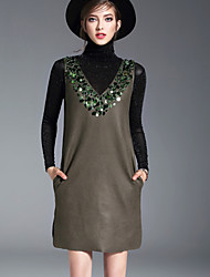 Women's Casual/Daily Simple Spring Summer T-shirt Dress Suits,Solid Stand Long Sleeve Sequins