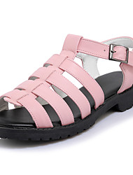 Sandals Spring Fall Comfort Hole Shoes Light Soles Leatherette Outdoor Dress Casual Flat Heel Buckle Braided Strap Black Pink White
