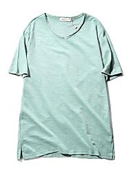 nouveau 201 hommes coréen coton à manches courtes col en V T-shirt sauvage couleur unie