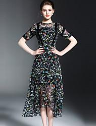 OYCP Women's Casual/Daily Cute A Line DressFloral Round Neck Midi  Length Sleeve Silk Spring Summer Mid Rise Inelastic Medium