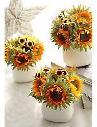 Sunflower Flower Head Wedding Artificial Flowers Bouquets for Lady Eco-friendly Material Wedding Decorations-Non-personalized
